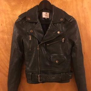 Parker dark green leather jacket size XS
